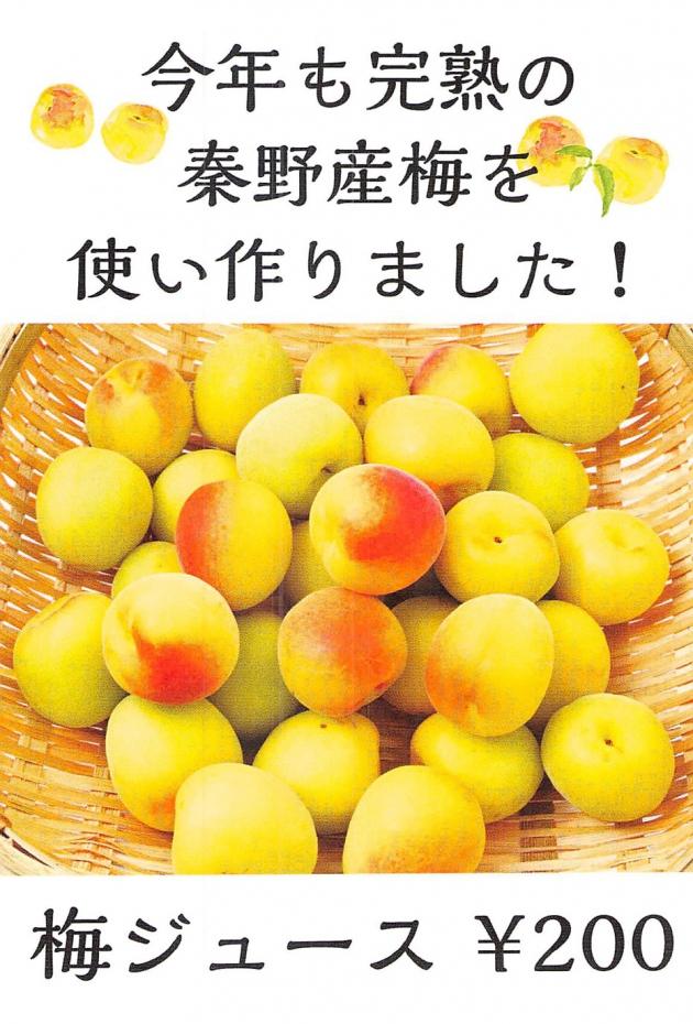 完熟の秦野産梅で作った梅ジュースです!